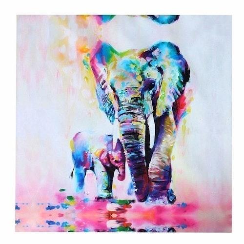 Elefant Familj Målning Olja Canvas 2019