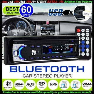 12V Bluetooth Bilstereo Car Stereo FM Radio MP3 Audio Charger SD/USB/AUX
