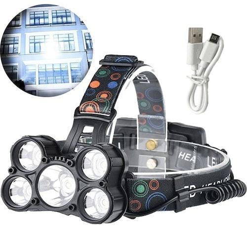 18000Lm Lumens 5X XM-L CREE T6 LED Laddningsbar Pannlampa