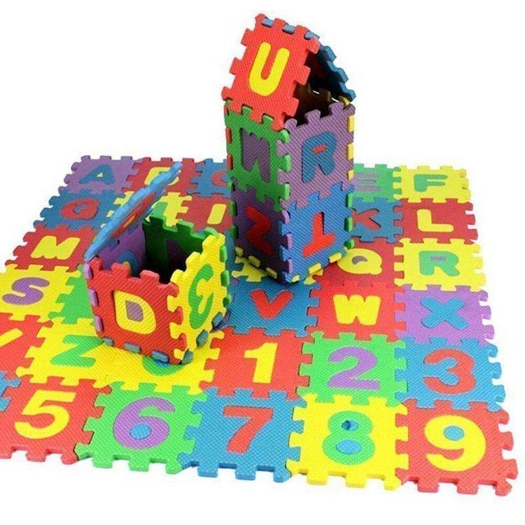36 st mjuka EVA skum baby barn lek mat alfabet nummer pussel leksak gåva