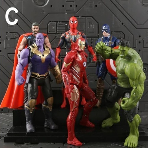 6 st Marvel Action Figurer Spiderman Iron Man Captain America Hulk mm  Deluxe 2019