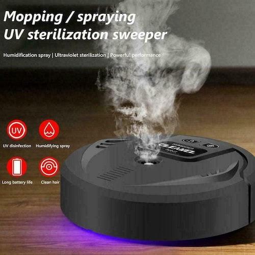Smart automatisk robotdammsugare UV Desinfektion Moppning, Svart