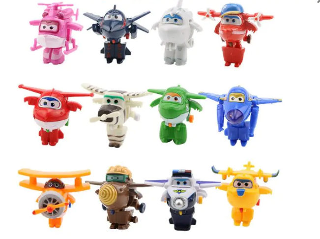 12 st Mästerflygarna Deluxe Super Wings Transformera Mini Figurer Leksak