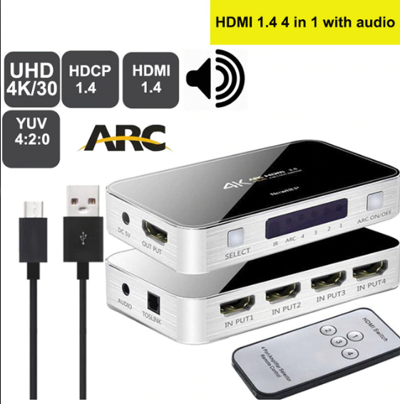 Splitter 4K HDMI Switcher Omkopplare HDMI 2.0 Switch HDMI audio extractor HDR ARC splitter 4X1 med fjärrkontroll