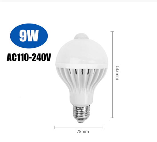 Sensor Lampa Motion Sensor LED Glödlampa E27 5W 7W 9W 110V 220V Led-lampa Trapphallen Rörelse Lampa Detection Nattlampa
