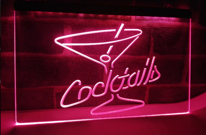 COCKTAILS NEON LJUS PUB SKYLT LIGHT SKYLT SIGN NR