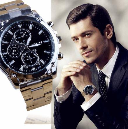 GEMIXI Armbandsklocka  Exquisite Processing Business About Men Stainless Rostfritt Steel Stål Band Machinery Sport Quartz Watch Klocka