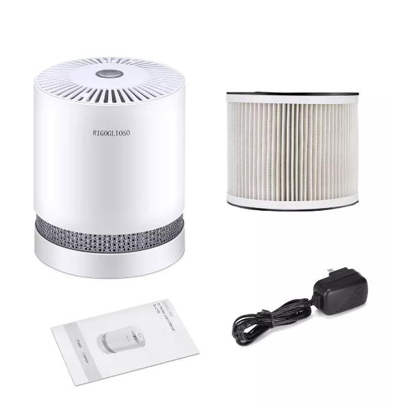 RIGOGLIOSO Luftrenare För Hemmet True HEPA Filters Kompakt Desktop Air Purifier Filtrerar med Natt Mode Air Cleaner GL2109