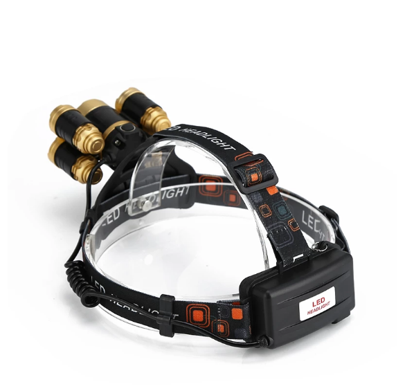 Superstark Zoombar 20000 Lumens Pannlampa CREE 5 LED Headlamp XML T6 +4*XPE Zoomable Camping Hiking Uppladdningsbar Emergency Light Fishing Utomhus Outdoor