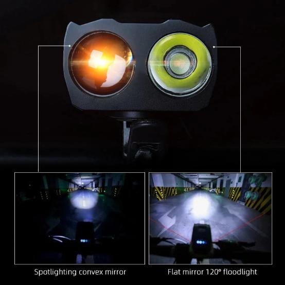 Smart Cykellampa Framlampa 800 Lumens + Baklampa 4000 mAh Inbyggt Horn Uppladdningsbart