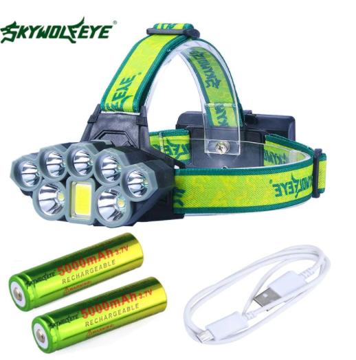 Pannlampa 50000 Lumen 8 Ljuslägen Mode USB headlamp 7X*XM-L T6 +COB LED Head Lamp Torch Lanterna med 18650 batterier Uppladdningsbar JAKT UTOMHUS