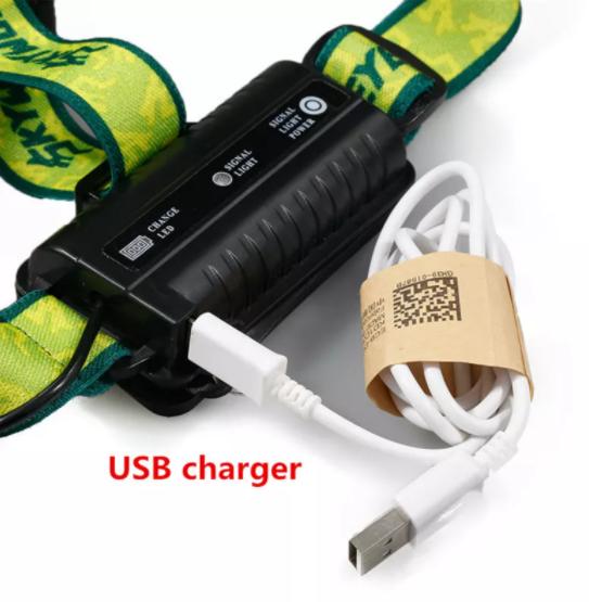 5X XML T6 Vattentät Pannlampa 20000 Lumens 4 Ljuslägen Mode LED Headlight USB Power Rechargeable Jakt Head Light +18650 Batterier