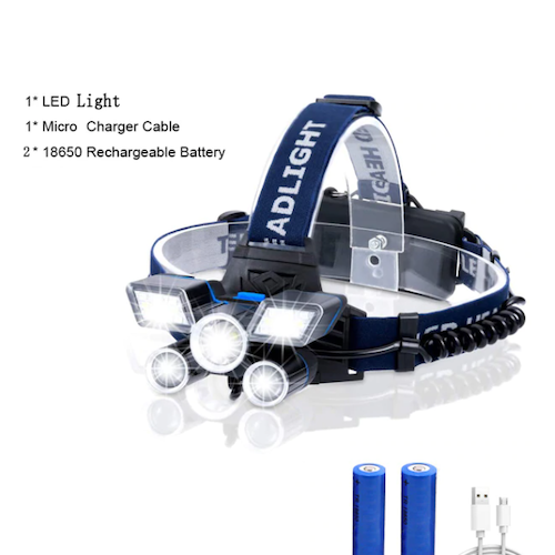 Pannlampa 20000LM 21 LED 9 Mode Arbetslampa Headlamp USB Uppladdningsbar Headlight Vattentät Head Torch for Outdoor Utomhus Cykling Hiking Friluft