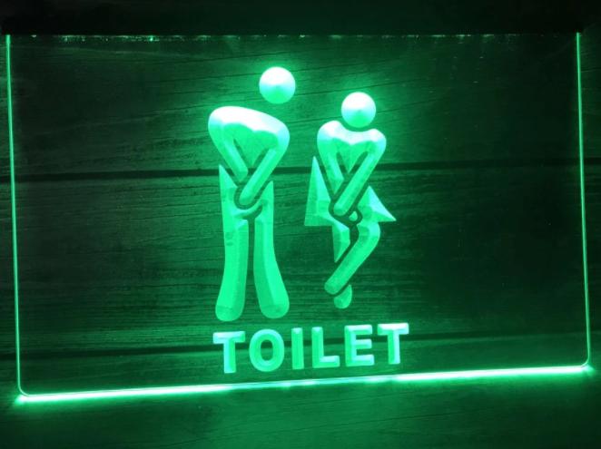 Rolig Toalett Skylt Neon USB - Finns i olika färger!