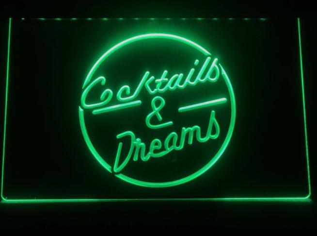 Cocktails & Dreams Neon LED Skylt