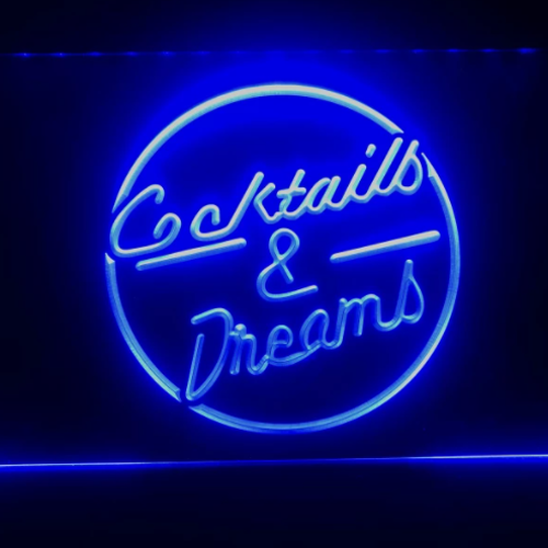 Cocktails & Dreams Neon LED Skylt