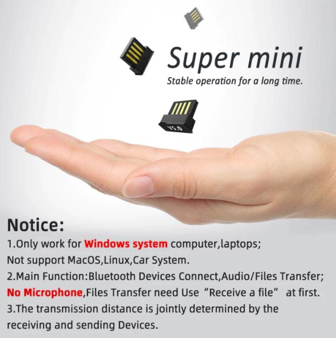 USB-adapter med Bluetooth 5.0 Transmitter Musik PC Tangentbord Skrivare Smartphone
