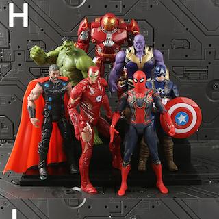 Marvel Deluxe Set Avengers Actionfigurer Iron Man Spider Man Hulk Thanos mm