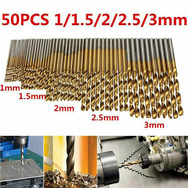 50 st Set STS HSS Borrsats Koboltborrbitar HSS-Co För hårdmetall rostfritt stål 1mm-3mm