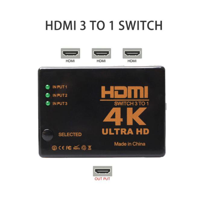 4K 2K 3x1 HDMI Kabel Cable Splitter Omkopplare HD 1080P Video Switcher Adapter 3-ingång till 1 Output Port HDMI Hub för Xbox PS4 DVD HDTV PC Laptop TV