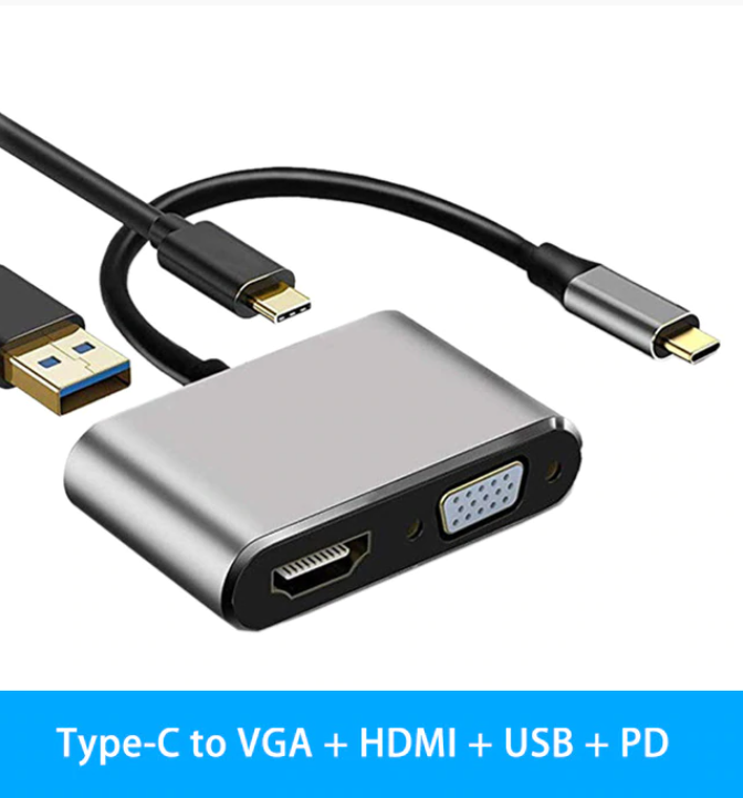 Adapter USB-C till HDMI VGA 4K, PD - Silver