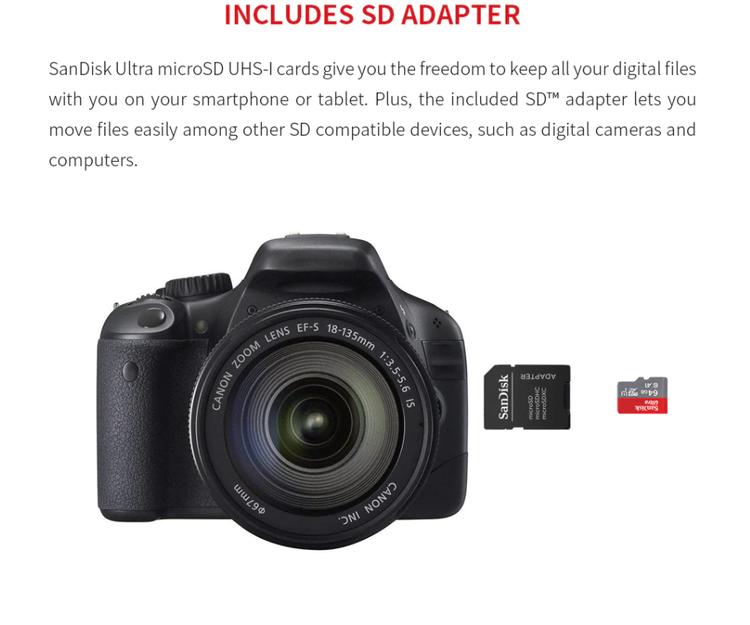 Sandisk Ultra Micro SD Minneskort - 16 GB