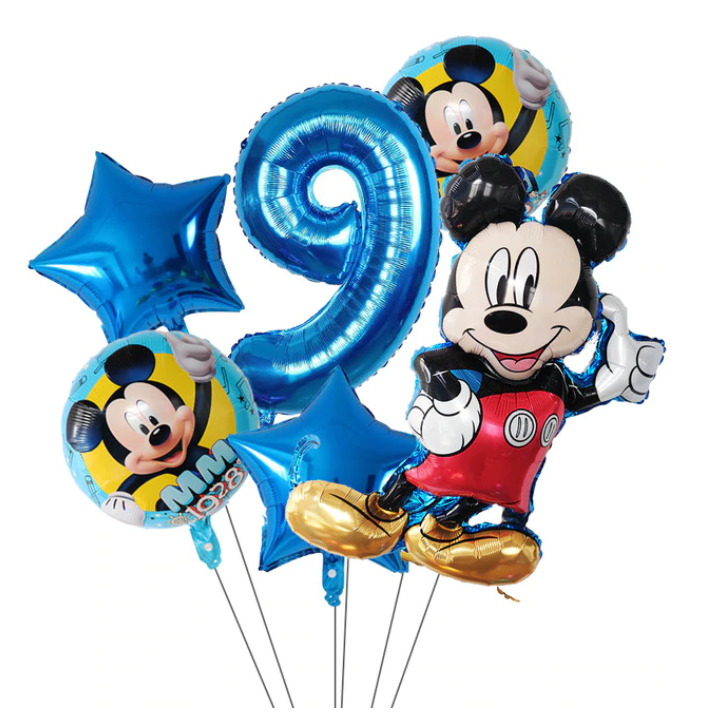 6-Pack Disney Minnie Ballonger Musse Pig Mickey Mouse Födelsedagsdekorationer Decor Ballong Kalas - Blå