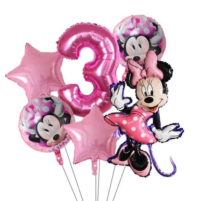 6-Pack Disney Minnie Ballonger Musse Pig Mickey Mouse Födelsedagsdekorationer Decor Ballong Kalas - Rosa