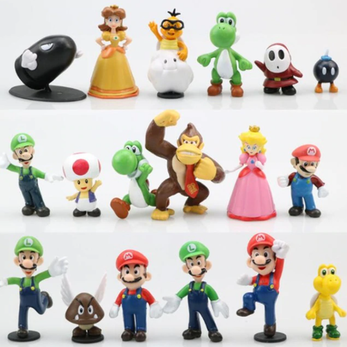 18-pack Super Mario Actionfigurer Leksaks Modell Figurer