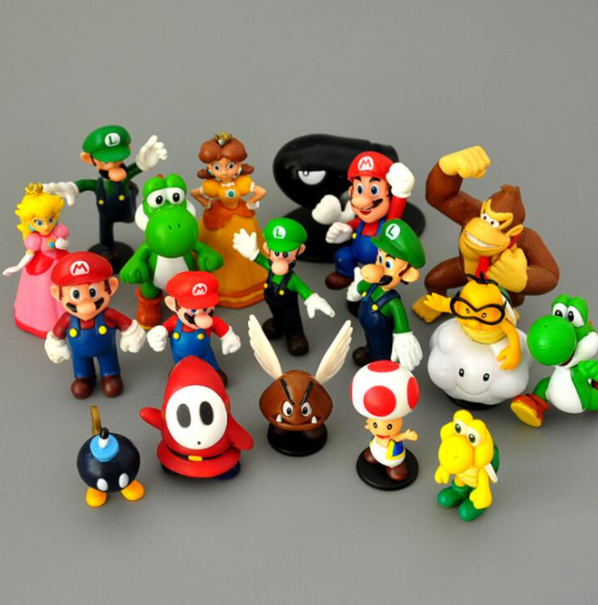 18-pack Super Mario Actionfigurer Leksaks Modell Figurer