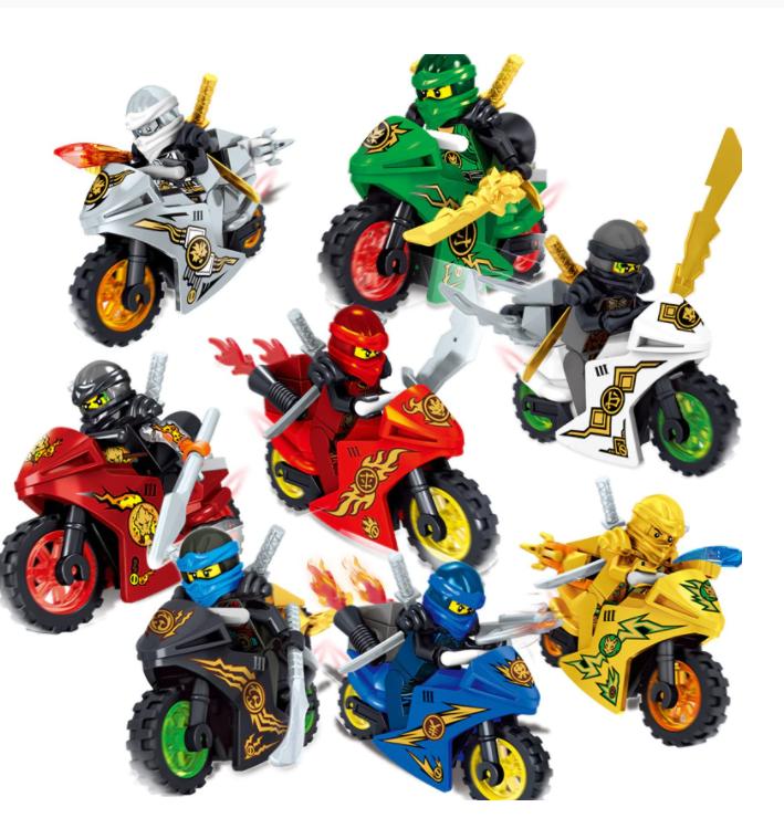 8-Pack Ninjago Deluxe Figur Figurer Leksak Leksaker Set Motorfiets Minifigurer Ninja ZANE Lloyd Mini Cijfers Blokken Speel