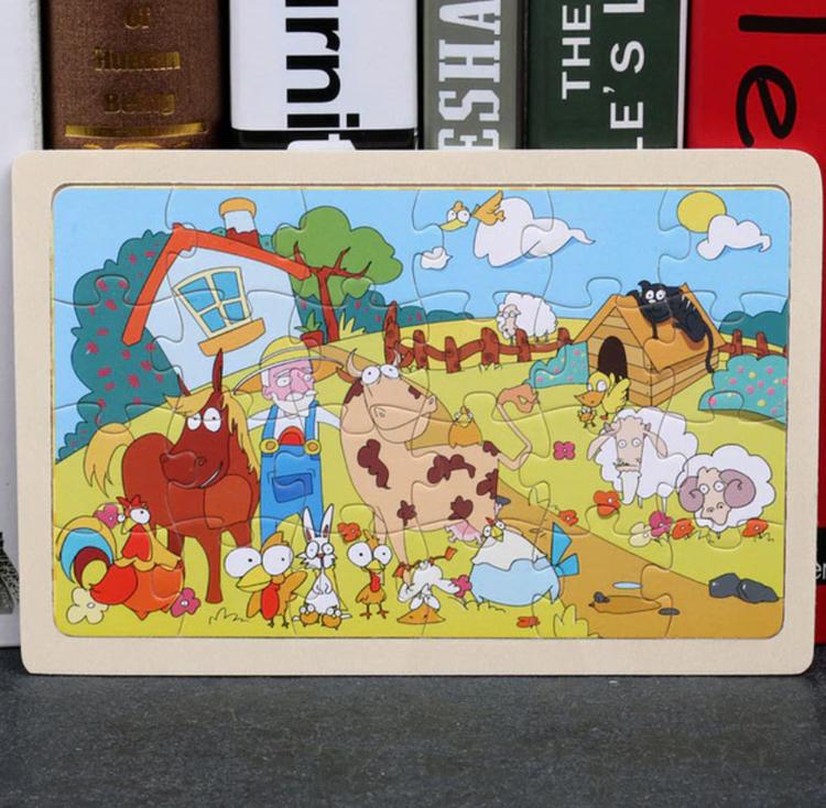 Barn Träpussel Leksak Tecknad Djur Baby Pussel pedagogiska Lärande