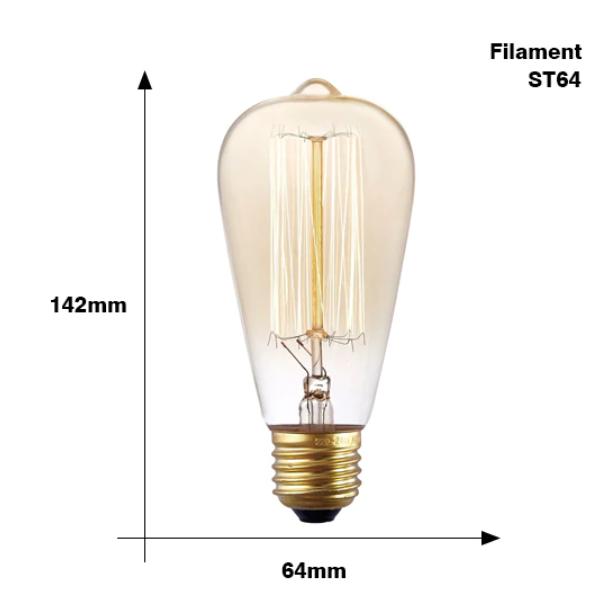 Retro Edison Glödlampa E27 220V 40W ST64 G80 G95 G125 Ampull Vintage Edison Heminredning