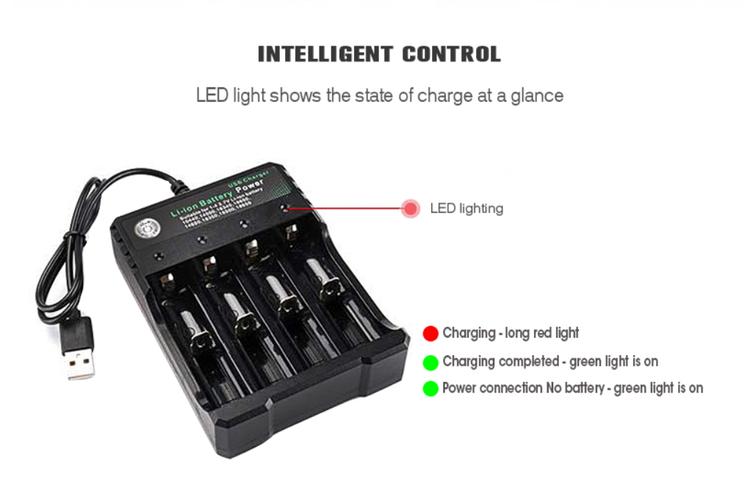 18650 Batteriladdare Svart 1 2 4 Spår AC 110V 220V Dual För 18650 Laddning 3,7V Uppladdningsbart Litiumbatteriladdare