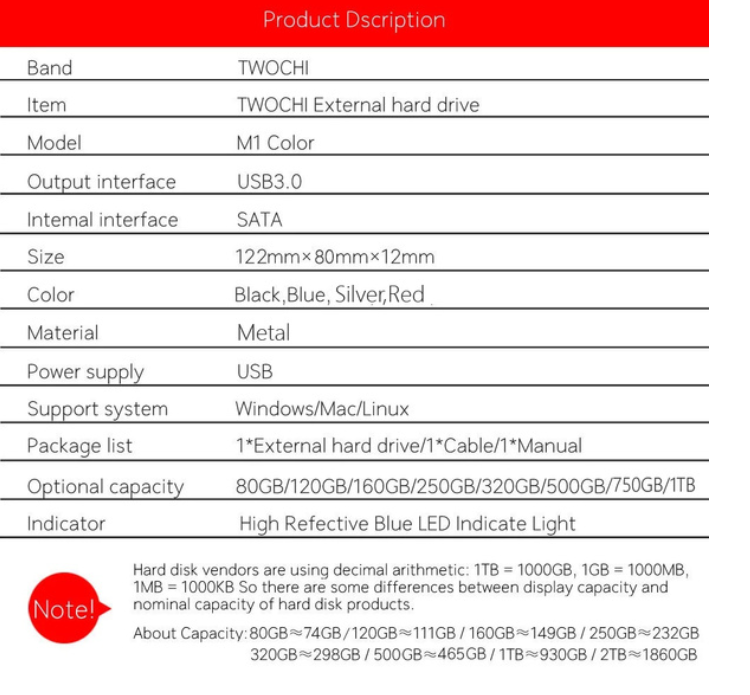 4TB HDD USB3.0 SATA High Speed 2.5\\ Extern Hårddisk High Speed Portable Hard Disk USB 3.0 SATA Hard Storage Devices