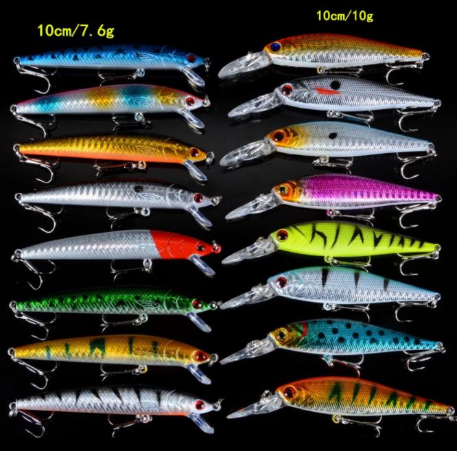 16-Pack Set Mixed / Lot 2 Modeller Minnows Fiskebeten Fiskedrag Jerkbait Högkvalitativt Fiske Krokar
