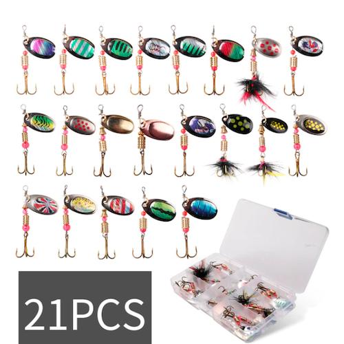 21-Pack Spinner Fiskbeten Fiskedrag Lushazer Metal + Box