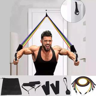 11 st Latex Tube Resistance Bands Yoga Fitness Gym Equipment Träningsrep Hem Elastisk rygg Muskel Styrketräning