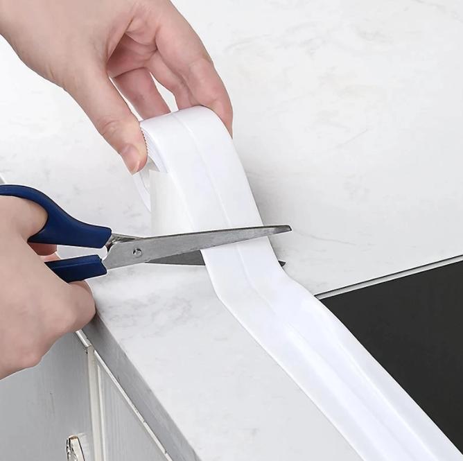 Badrum Duschhandfat Badtätningslistband Vit PVC Självhäftande Vattentät Väggklistermärke för badrumskök