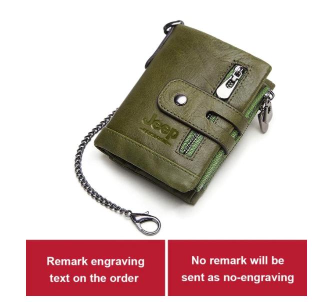 Läder Män Plånbok Mini Korthållare Kedja Portfölj Wallet Pocket