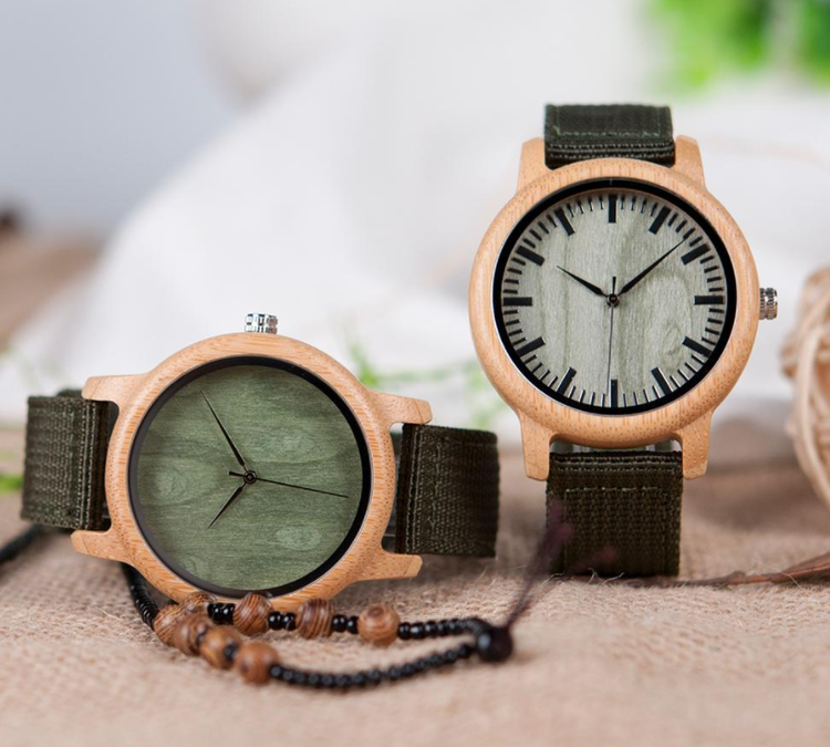 Bamboo Träklocka Clearance Wooden Leather Kvartsklocka Quartz Wristwatch Mode