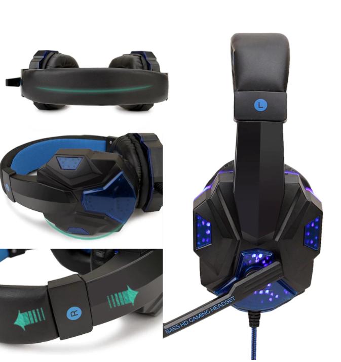 Gaming Headset Hörlurar för Playstation 4 / Ps4 Pro / PS5 / Xbox One / PC  med Stereo Bass