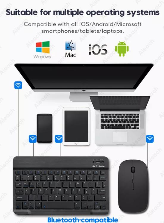 Tablet trådlöst Tangentbord + Mus för iPad iPhone Huawei Samsung Teclado, Bluetooth-kompatibel tangentbordsmus