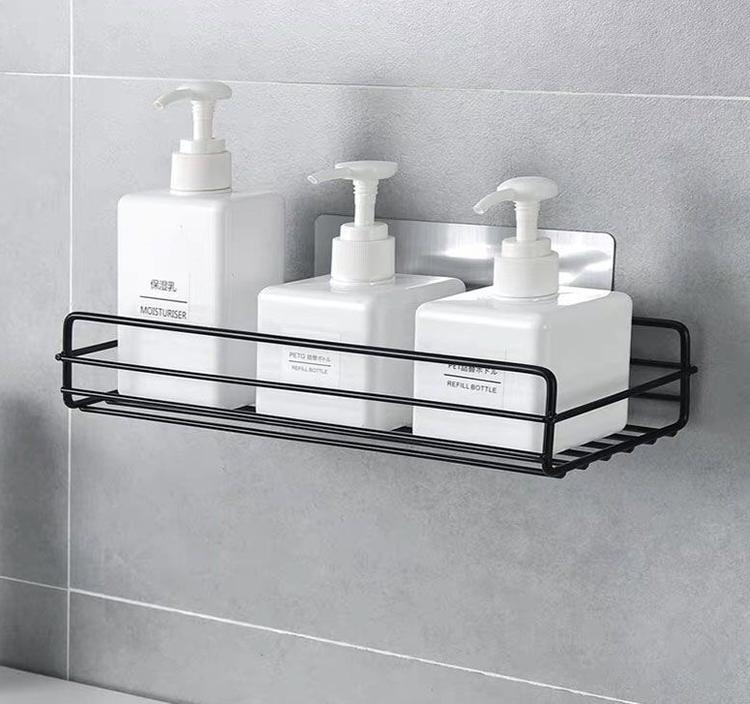 Badrum kök Stans Hörnram Duschhylla Smidesjärn Shampoo Förvaringsställ Hållare med sugkopp badrumstillbehör