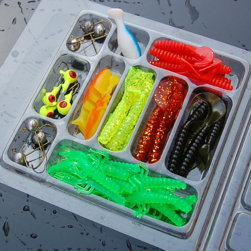 35-pack Fiskebete Maskar Kit Mix Soft Worm Lure Carp Jig hooks Spinner Spoon Lure Pesca Artificial Bionic Bait Fish Lure Set