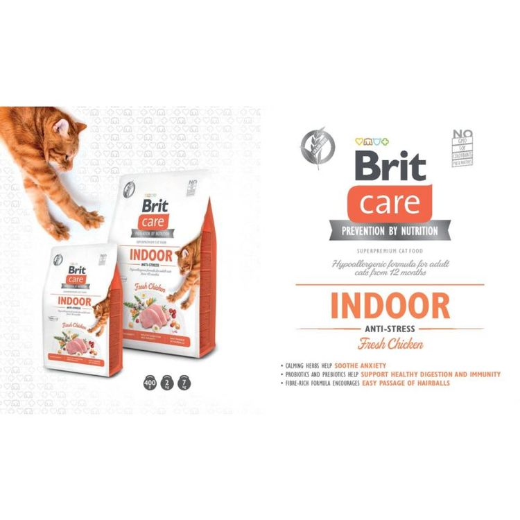 Brit Care Cat Indoor Anti-Stress Färsk kyckling- Vuxen Kattfoder - Innekatt & Antistress