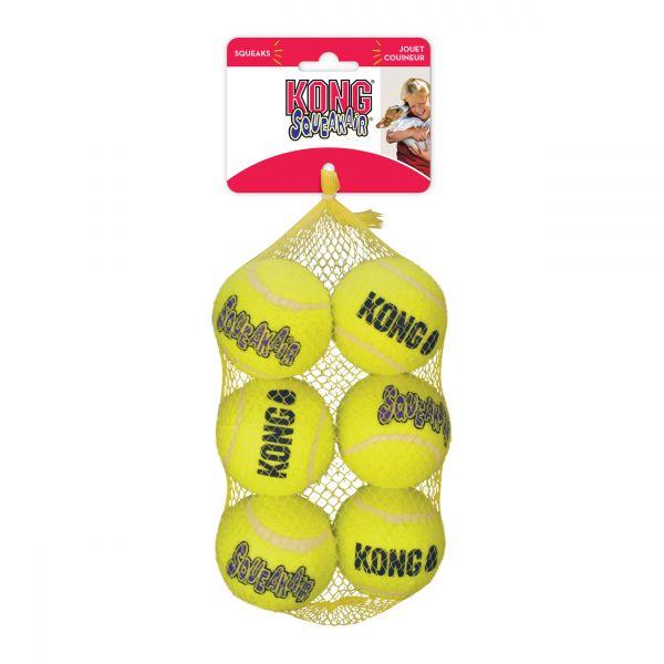 KONG Leksak SqueakAir Balls 6p Gul M 6cm