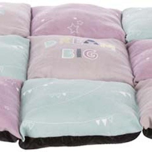 Junior lapptäcke dyna, 60 × 60 cm, ljuslila/mint/rosa