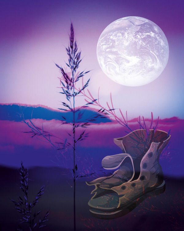 "Graphic Art ""Walking with the moon"""
