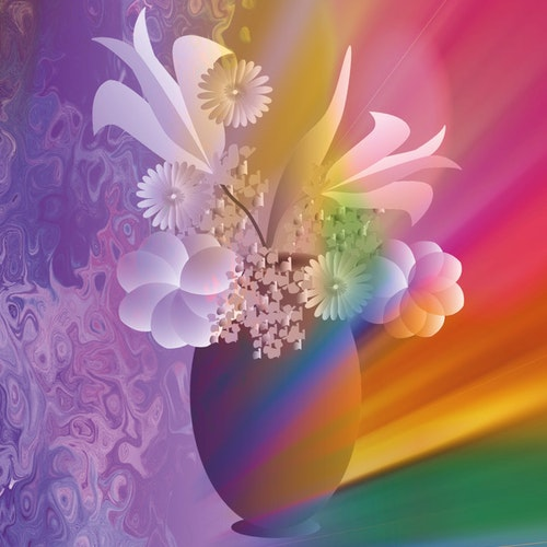 "Graphic Art ""A bouquet for rainbow love"""
